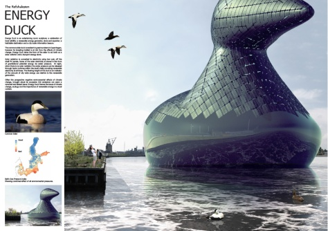 Solar panel clad, floating duck