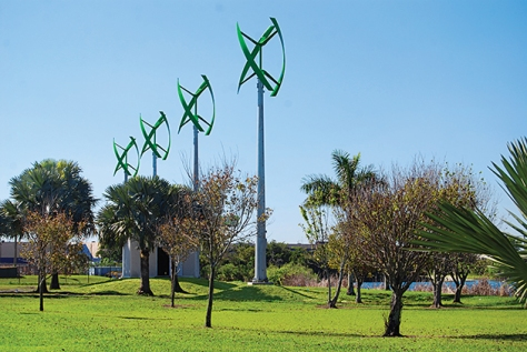 Wind Turbine in park in Fort Lauderdale,
