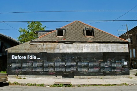 First chalk board in New Orleans after Hurricane Katrina